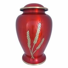 Brass Cremation Urn With Design Aria Wheat