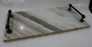 BEIGE MARBLE HANDICRAFT TRAY