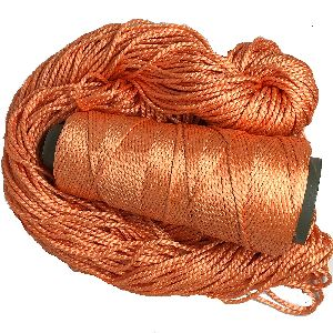 2 Ply Mulberry Silk Yarn In Cones, 50 Grams, 75 Yards (peach)