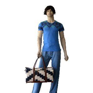 Vintage Wool Jute, Rug Crossbody Leather Southwest Navajo Tapestry Carpet Luggage Travel Duffle Bag