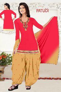 Patudi Designer Embroidered Cotton Patiyala Suit