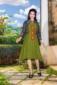 Cambric Rayon Fabric Print Work Kurti