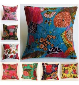 Floral Kantha Decorative Pillow Cover