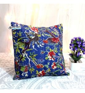 Navy Blue Bird Kantha Decorative Pillow