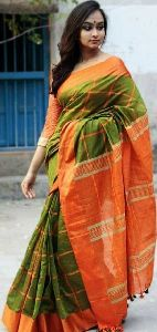 Handloom Pure Khadi Checks Designer Saree