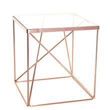 Square Cross Wire 8mm Glass Top Coffee Side Table