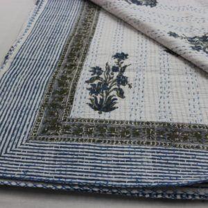 Floral Print Kantha Quilt Hand Block Throw Gudari Cotton Jaipuri Bedspread
