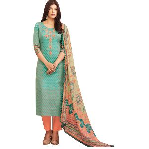 Pure Cotton Embroidered Unstitched Salwar Suit Dress Material Fabric With Pure Cotton Dyed Bottom An