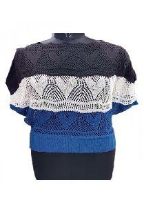 Blue,white,black Embroidery Woollen Ready To Wear Top