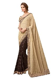 Brasso And Tebi Silk Beige Coloured Traditional Wear Mirror Work Saree With Blouse