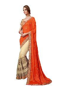 Cross Sheeding Fabric And Net Traditional Wear Embroidered Sare