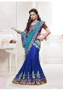 Dark Blue Colored Net And Satin Heavy Embroidered Semi Stitched Lehenga Saree