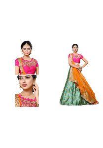 Green Colored Pure Banarasi Jaquard Embroidered Semi Stitched Lehenga Choli