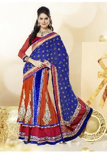 Orange And Red Colored Faux Georgette Heavy Embroidered Semi Stitched Lehenga Saree