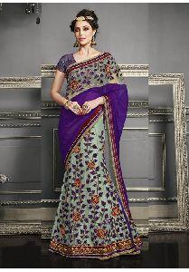 Sky Blue Colored Georgette Chiffon Heavy Embroidered Semi Stitched Lehenga Saree