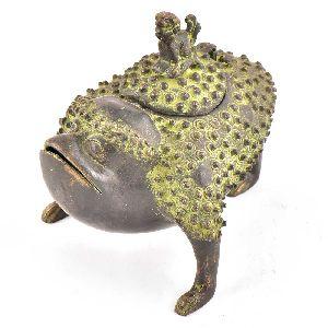Brass Rare Tribal Frog Storage Box