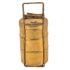 Brass Three Compartment Lunch Box