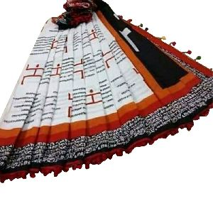 Colorful Border Cotton Saree With Blouse Piece