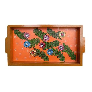 Floral Design Handmade Painting Wooden Tray
