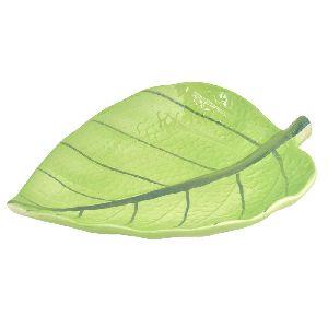 Green Ceramic Leaf Serving Tray