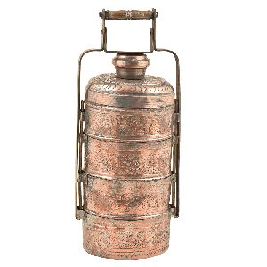 Hand Engraved Copper Four Compartments Tiffin Box