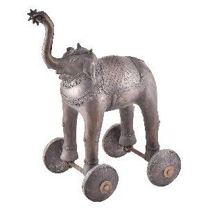Handmade Brass Elephant Statue On Rolling Wheels