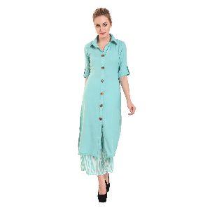 Kittu's Women Turquoise Blue Cotton Straight Roll Up Sleeve Shirt Collar Kurti