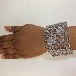 Baguette Flower Cuff Bracelet