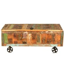 Modern Rustic Reclaimed Wood Cart Storage Trunk On Wheels