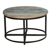 Reclaimed Wood Top Round Industrial Coffee Table