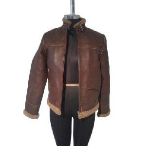 Ladies Designer Brown Leather Jacket
