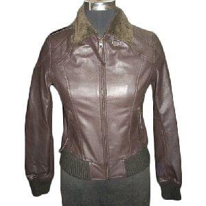 Ladies Full Sleeve Brown Leather Jacket