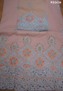 Raw Silk Embroidered George Fabric
