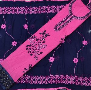 Vrs creations Chanderi Cotton, Embroidered Suit Material (Unstitched)