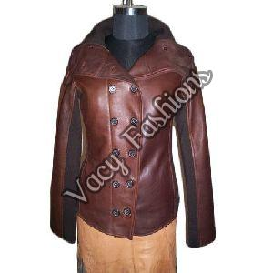 Ladies Collar Neck Leather Jacket