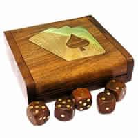 Playing Card Box With Dice Box Brass Inlay