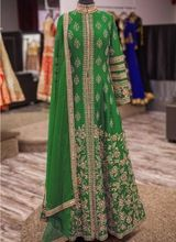 Green Banglori Silk Reception Wear Heavy Embroidery Work Anarkali Suit