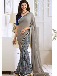Grey Georgette Party Wear Printed Saree