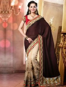 Majestic Maroon Patch Border Work New Designer Saree
