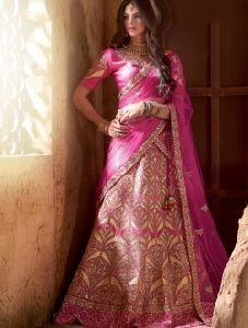 Pink Net Embroidered Work Wedding Wear Lehenga Choli