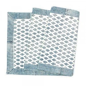 Neem Majolika Blue Table Runner Cotton Hand Block Printed