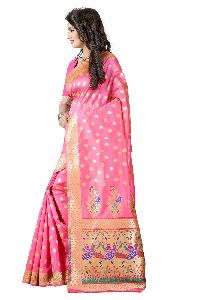 Pink Colour Poly Silk Jacquard Saree