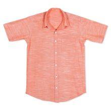 Men Half Sleeve Formal Cotton Peach Solid Party Wear