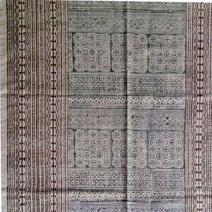 Traditional Eco Friendly Handmade Cotton Flat Weave Block Printed Dhurrie Rug Carpet