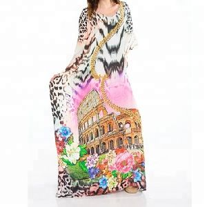 Women Multi-color Satin Silk Digital Printed Stylish Beach Kaftan
