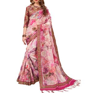 Light Pink Color Pure Linen Digital Print Saree