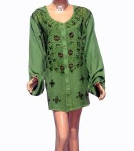 Rayon With Sleeve Woman Blouse