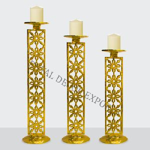 Pillar Candle Holder Gold Plated