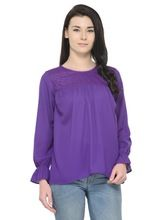 Round Neck Fancy Ladies Top Purple Color Latest Design Top