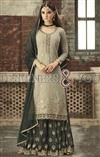 Embroidered Punjabi Suit With Flared Salwar